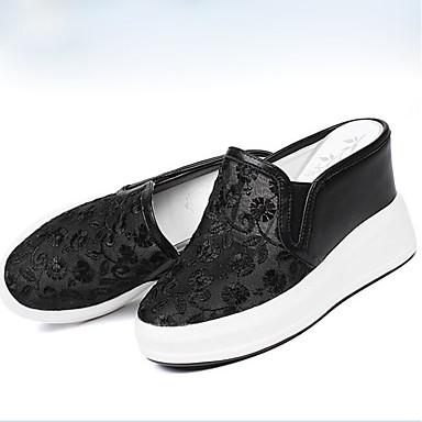 Žene Cipele Mekana koža Proljeće Udobne cipele Ravne cipele Wedge Heel Zatvorena Toe Obala / Crn