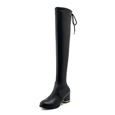 Chaussures Polyuréthane hiver à Bottes Talon Noir Bottes Automne Bottier Mode la Cuissarde Femme 06837268 5dwtqp15