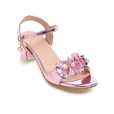 Argent Eté Polyuréthane Femme Or Talon Bout Confort Bottier 06777152 Imitation Boucle Perle Sandales ouvert Rose Chaussures xOnE4nqag