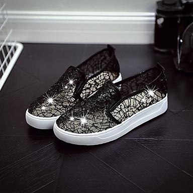taco On Zapatos Zapatos Lentejuela bajo Plano Slip y de Plateado Mujer Verano Confort 06776001 Dorado Negro Malla PU Tacón XHwdnqP10