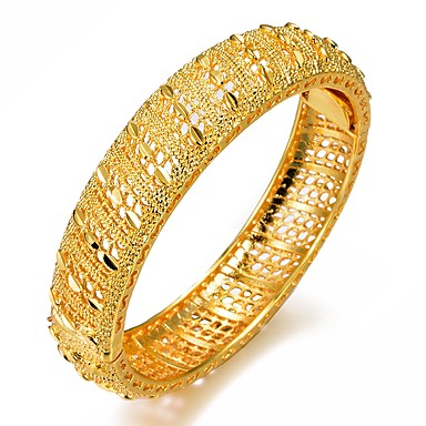 baratos Bangle-Mulheres Bracelete Pulseiras Algema Escultura senhoras Étnico Italiano Chapeado Dourado Pulseira de jóias Dourado Para Festa Presente
