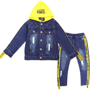Djeca Djevojčice Osnovni Jednobojni Dugih rukava Poliester Komplet odjeće Plava 140