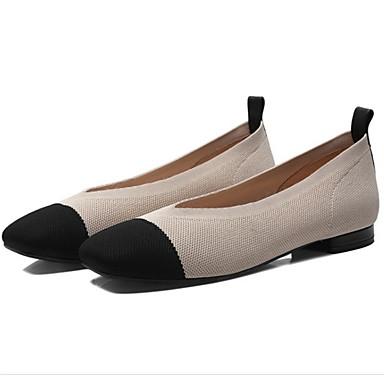 Bas Vert 06827669 été Bout carré Beige Rouge Talon Chaussures Confort Matière Véronèse Femme synthétique Ballerines Printemps wZFq7axx8