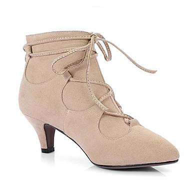 Žene Koža Jesen Udobne cipele / Modne čizme Čizme Kockasta potpetica Čizme gležnjače / do gležnja Crn / Nude