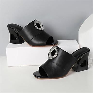 06830327 Sandales Bottier Eté Noir Cuir Chaussures Femme Blanc Confort Nappa Talon ZvXZqT