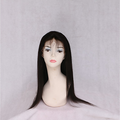 abordables Perruques Naturelles Dentelle-Perruque Cheveux Naturel Rémy Lace Frontale Cheveux Birmans Droite naturelle Noir Avec queue de cheval 130% avec des cheveux de bébé Noir Naturel Femme Très long Accessoires pour Perruques