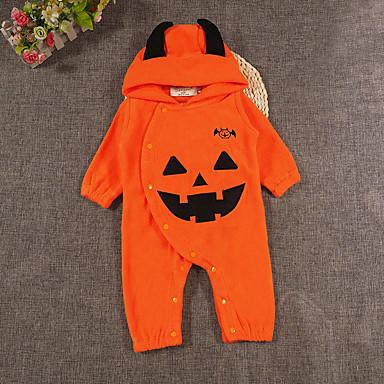 billige Halloweensalg-Baby Jente Aktiv / Gatemote Daglig / Ferie Trykt mønster Printer Langermet Kjeledress og jumpsuit Oransje