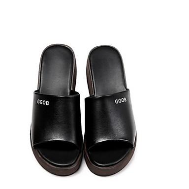 Chaussures Hauteur Femme Bout Noir Nappa Eté Confort compensée 06840815 Blanc de Sandales Printemps Cuir ouvert semelle fqp0dwq