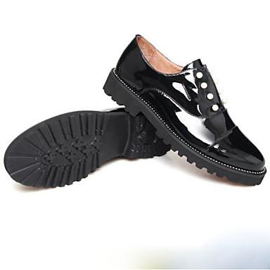 Verni Noir Perle rond Printemps Soirée Bout Talon 06781585 Femme Bas Chaussures Cuir Confort Evénement amp; Ballerines 1qB4EwT