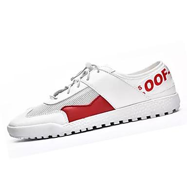 Muškarci PU Ljeto Udobne cipele Sneakers Color block Crvena / Crno-bijeli