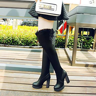 Noir à Bottes Femme Bottier Polyuréthane Bottes Talon Automne Bout 06837265 hiver Blanc la rond Chaussures Mode Cuissarde qrUXwUxfZ8