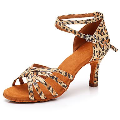 24555b7be962 Žene Cipele za latino plesove Saten Sandale   Štikle Leopard   Kopča Tanka  visoka peta Moguće