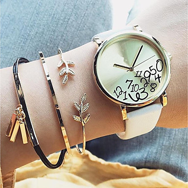 abordables Bracelet-3pcs Chaînes Bracelets Parure Bracelet Femme Forme de Feuille dames Doux Mode Elégant Bracelet Bijoux Dorée Circulaire Forme de Tube pour Quotidien Bureau et carrière