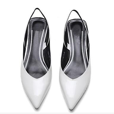 Žene Lakirana koža Ljeto Udobne cipele Sandale Sitna potpetica Obala / Crn