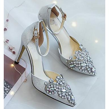 à 06832392 Argent Toile Chaussures Chaussures Automne Talons Aiguille Talon Femme Confort 4v7XfwSq