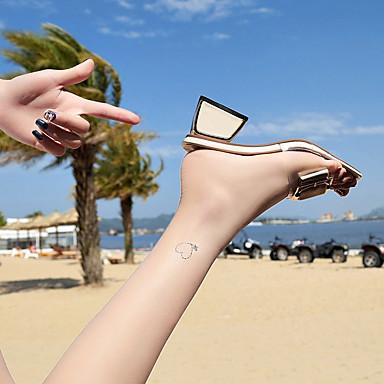 Sandalias y Cuadrado Beige Amarillo Piezas Zapatos 06796773 Dos Verano PU Tacón D'Orsay Mujer qKaFwz0Ia