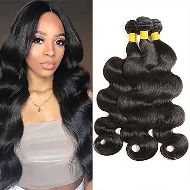 levne Hair Extensions-3 svazky Malajské vlasy Vlnitá 8A Přírodní vlasy Lidské vlasy Vazby Prodloužení 8-28 inch Černá Přírodní barva Lidské vlasy Vazby Nový přírůstek 100% Panna Rozšíření lidský vlas Dámské Unisex
