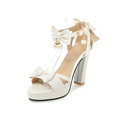 Women's Shoes PU(Polyurethane) Spring & Summer Ankle Strap Toe Sandals Chunky Heel Open Toe Strap White / Black / Pink / Party & Evening 5fd474