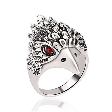 voordelige Herensieraden-Heren Ring 1pc Zilver Verzilverd Roestvrij staal Legering Rond Onregelmatig Vintage modieus Rock Carnaval Club Sieraden Hol 3D ambachtsman Uil Cool
