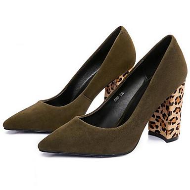Femme Chaussures Chaussures Daim Printemps Confort Chaussures Femme à Talons Talon Bottier Noir / Vert Véronèse 97bf40