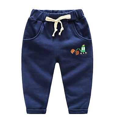 baratos Calças para Meninos-Infantil Para Meninos Básico Diário Sólido Algodão Calças Cinzento Escuro