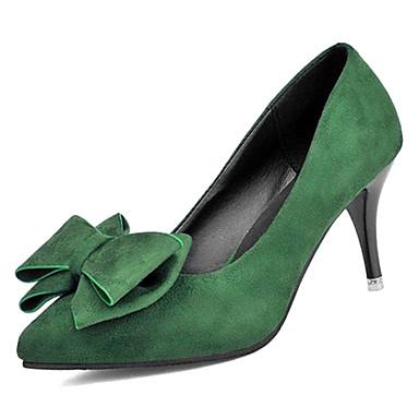 Žene Cipele PU Ljeto Obične salonke Cipele na petu Stiletto potpetica Krakova Toe Mašnica Crn / Zelen / Lila-roza