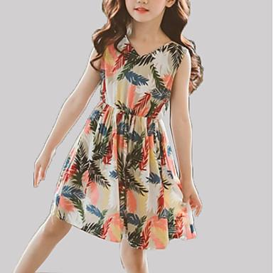 Djeca Djevojčice Osnovni / slatko Cvjetni print Bez rukávů Haljina Obala 140