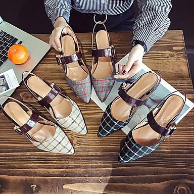 Zapatos Verde de 06780644 Puntiagudo Pump Mujer Talón PU Sandalias Básico Dedo bloque Gris Verano SFxdw1