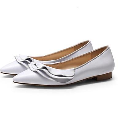 Eté Ballerines Chaussures Rose Plat fermé Talon Blanc Confort Femme Bout 06832617 Nappa Cuir Printemps IggY6