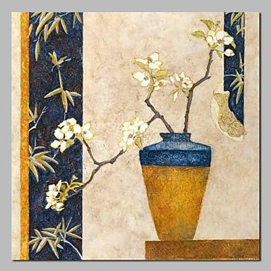 Hang oslikana uljanim bojama Ručno oslikana - Mrtva priroda / Cvjetni / Botanički Klasik / Tradicionalno Uključi Unutarnji okvir / Prošireni platno