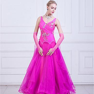 Für den Ballsaal Kleider Damen Leistung Elastan / Organza Horizontal gerüscht / Kombination / Kristalle / Strass Ärmellos Kleid / Ärmel