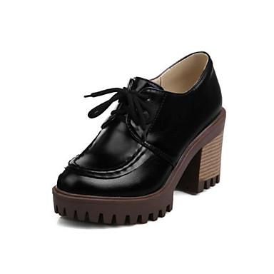 Žene Cipele PU Proljeće / Jesen Udobne cipele Oksfordice Kockasta potpetica Okrugli Toe Crn / Bež / Bijela