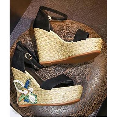 Daim été Vert Sandales Printemps de Chaussures Noir Femme 06792365 semelle compensée Hauteur Confort Bqt5Owfx