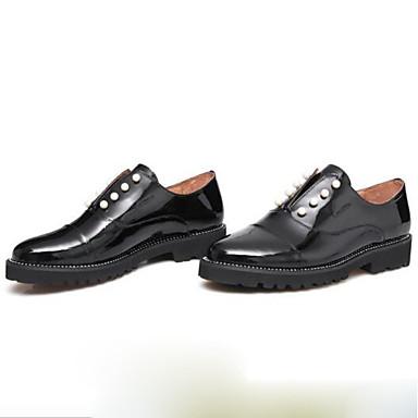 Ballerines Noir Evénement Verni Talon 06781585 Chaussures Bout Soirée Femme Cuir Bas Confort rond Printemps Perle amp; XwFPn6q