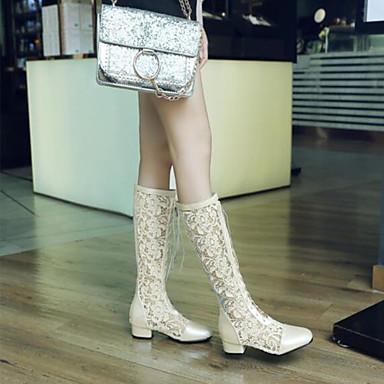 Bottes Blanc Chaussures Bout Talon la été à amp; Bottes Noir 06837186 Femme Bottes rond Mode Bas Soirée Polyuréthane Beige Printemps Evénement FxwqdzS86