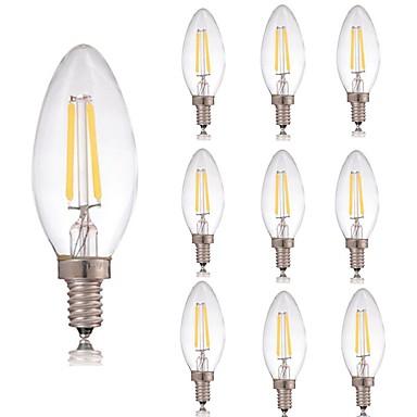 billige Elpærer-10pcs 2 W LED-glødepærer 180 lm E14 C35 2 LED perler COB Dekorativ Varm hvit Kjølig hvit 220-240 V / RoHs
