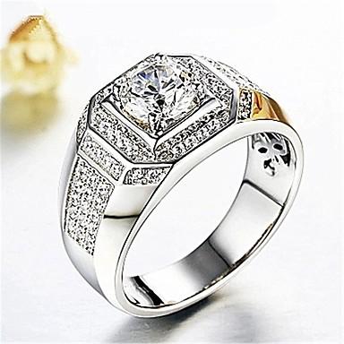 voordelige Herensieraden-Heren Ring 1pc Zilver Koper Gesimuleerde diamant Kubusvormig Stijlvol Klassiek Bruiloft Dagelijks Sieraden 3D patiencespel Rond