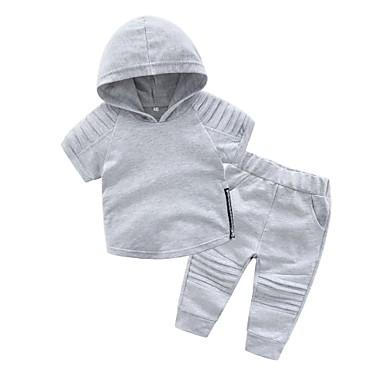 bbf5c754a52 Μωρό Αγορίστικα Βασικό Καθημερινά Μονόχρωμο Κοντομάνικο Κανονικό Βαμβάκι  Σετ Ρούχων Γκρίζο / Νήπιο