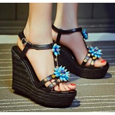 Žene Mekana koža Ljeto Udobne cipele / Obične salonke Sandale Wedge Heel Crn / Bež