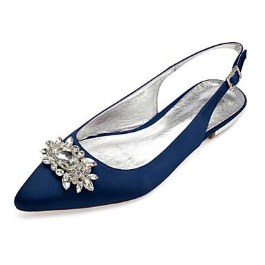 billige Toppsalg-Dame bryllup sko Flat hæl Spisstå Rhinsten / Gummi Sateng Komfort / Slingback Sko Vår sommer Blå / Lysebrun / Krystall / Bryllup / Fest / aften