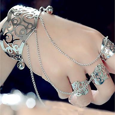 abordables Bracelet-Manchettes Bracelets Bracelets Bagues Femme Créatif Esclaves d'or Gros Fantaisie dames Hyperbole Mode Bracelet Bijoux Dorée Argent Demi-cercle pour Soirée Bar Costumes de cosplay