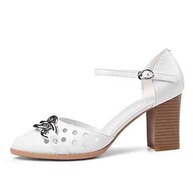 Rose Chaussures Nappa à Femme Eté Cuir Basique 06799628 Blanc Noir Escarpin Talons Chaussures Confort Talon Bottier Ugwxw6qTS