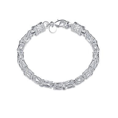voordelige Herensieraden-Heren Armbanden met ketting en sluiting Dikke ketting Hol Slang Eenvoudig Standaard Koper Armband sieraden Zilver Voor Dagelijks Werk / Verzilverd
