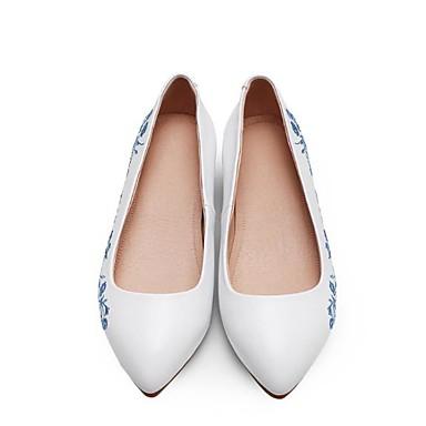 été Bout 06783494 Confort Cuir Chaussures Printemps Plat pointu Talon Nappa Ballerines Femme Blanc wI1FZq7