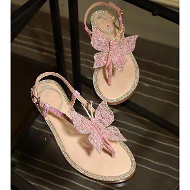 Sandales Chaussures synthétique Confort Matière Plat Femme 06778201 Eté Talon Bleu Rose wXqOREndx