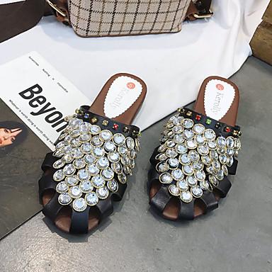 Verano Mujer Zuecos Talón Tacón Descubierto y Noche redondo y pantuflas Zapatos Negro Dedo Plano Fiesta 06792165 Blanco Pedrería PU Sr1qwXxrE