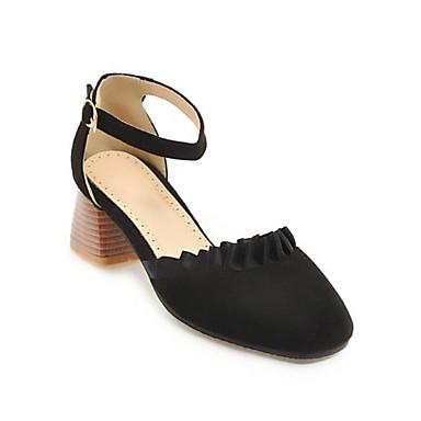 Daim Bottier Talon Beige carré à Confort Femme été 06782921 Bout Printemps Amande Rose Chaussures Boucle Chaussures Talons wqOqBz85x