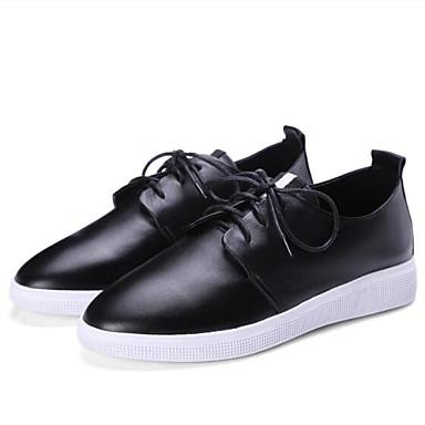 Chaussures Confort Bout Cuir 06834901 Printemps Rouge fermé Noir Talon Femme Oxfords Blanc Plat Eté Nappa 1TdX4q