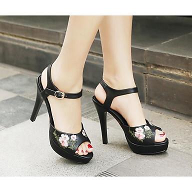 Confort Chaussures Femme Escarpin Eté 06817193 Aiguille Microfibre Blanc Noir Talon Basique Sandales qawfB6xwt
