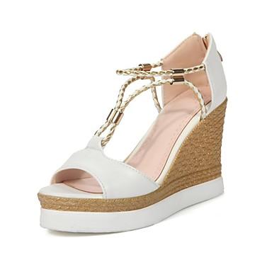 06840376 été Beige de Printemps Hauteur Femme Sandales Chaussures semelle Confort Noir compensée Blanc Polyuréthane tFnqpwO